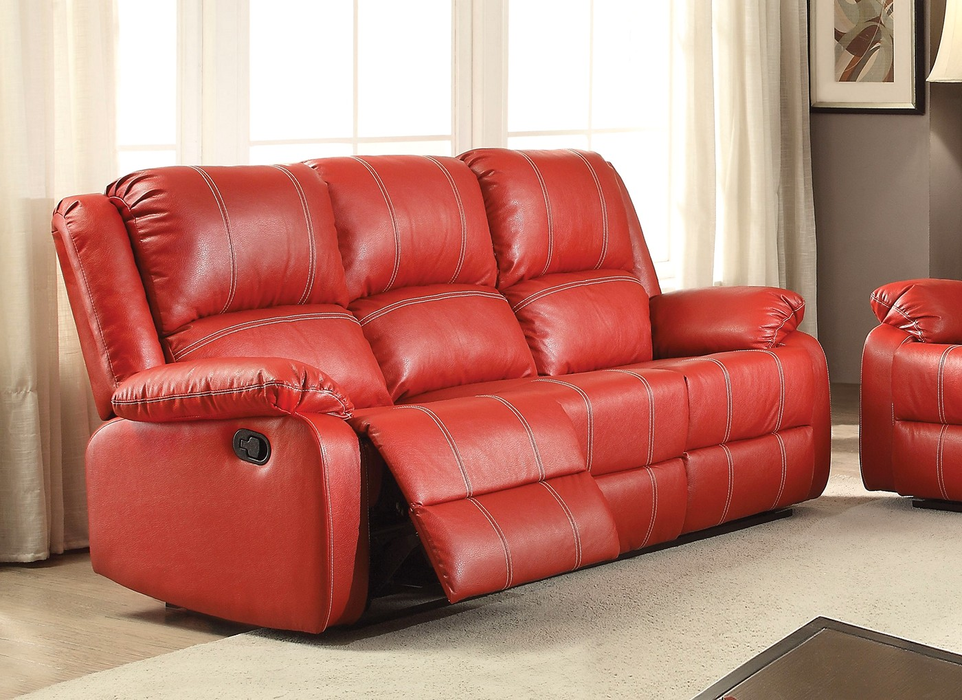 Zimra Contemporary Reclining Sofa In Red Faux Leather