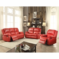Zimra Contemporary Reclining Sofa & Loveseat Set in Red Faux Leather