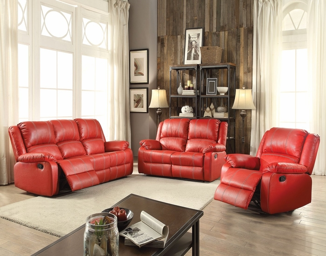 Zimra Contemporary Reclining Sofa Loveseat Set In Red Faux