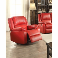 Zimra Contemporary Rocker Recliner in Red Faux Leather