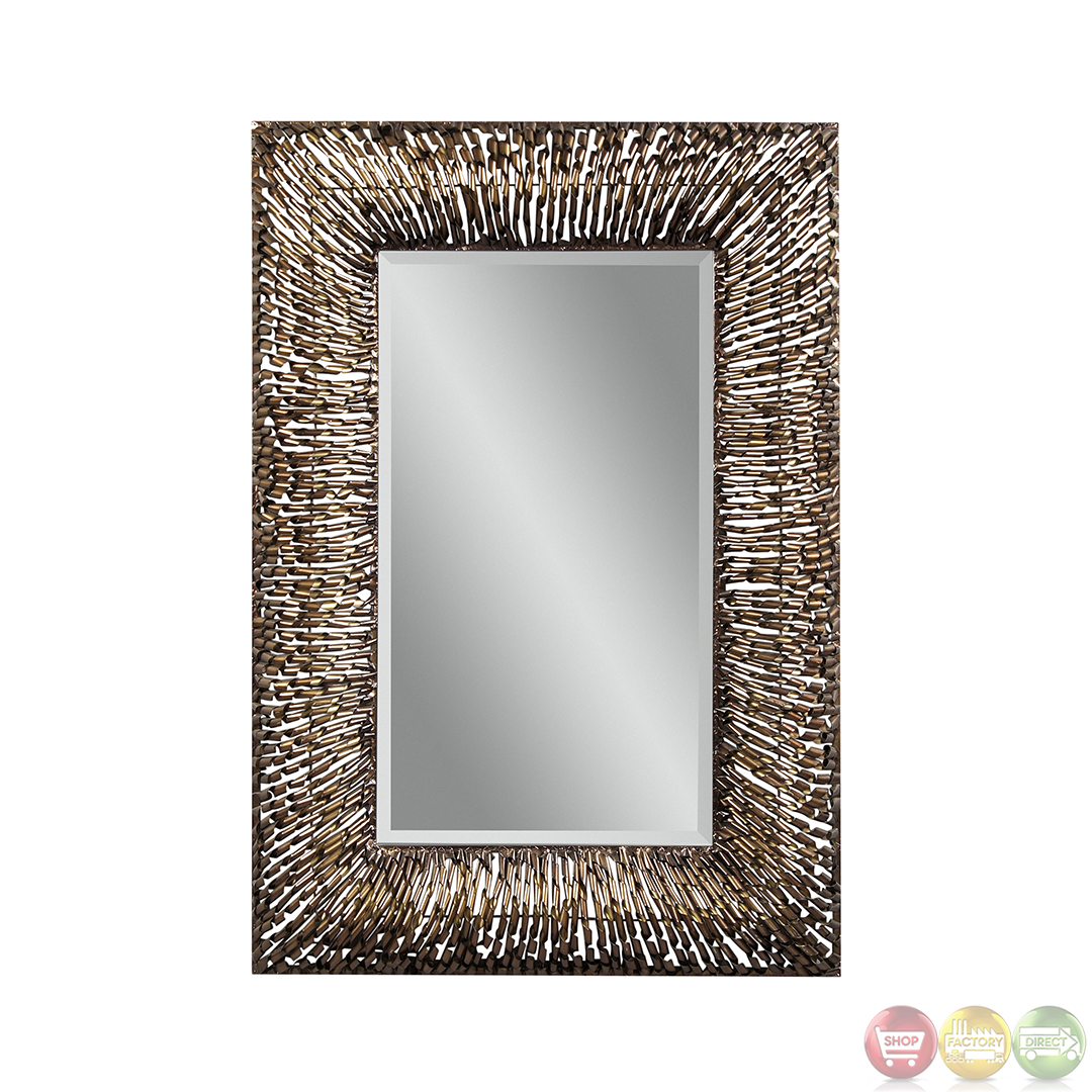 Zola twisted copper metal frame wall mirror m3334bec for Metal frame mirror