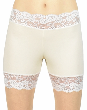 """2.5"""" Ivory and Cream / Off-White Stretch Lace Shorts"""