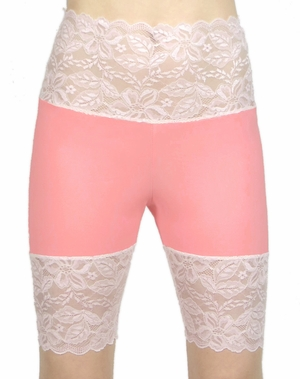 Coral and Baby Pink Wide Waistband Stretch Lace Shorts