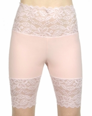 Baby Pink Wide Waistband Stretch Lace Shorts (OUT OF STOCK)