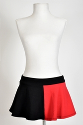 "Black and Red Cotton Flared Skirt (10"" Long)"
