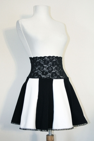 Black and White Lace Waist Circle Skirt (TEMPORARILY OUT OF STOCK)