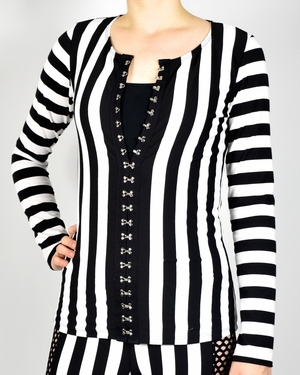 Black and White Striped Hook and Eye Front Sweater