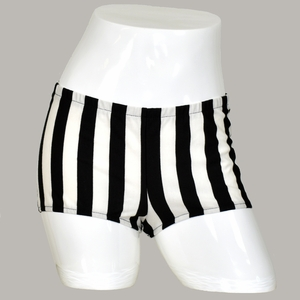 Black and White Vertical Striped Booty Shorts