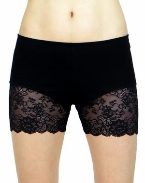 Black Lace Leg Shorts