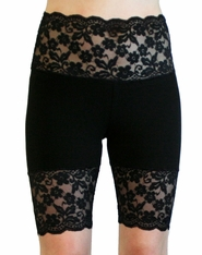 Black Scalloped Stretch Lace Shorts (OUT OF STOCK)
