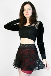 Black Stretch Lace Circle Skirt (OUT OF STOCK)