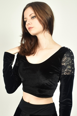 Black Velvet, Lace, and Grommet Cropped Sweater