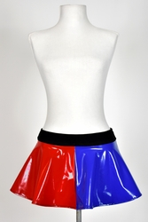"""Blue and Red Stretch Vinyl Skirt (10"""" Long)"""