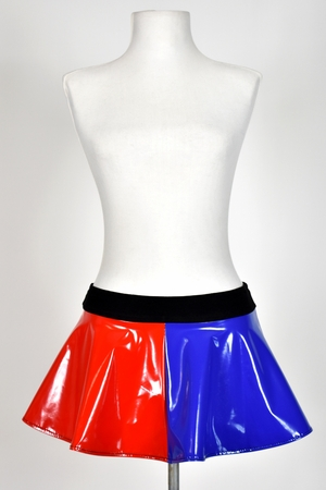 """Blue and Red Stretch Vinyl Skirt (10"""" Long) TEMPORARILY OUT OF STOCK"""