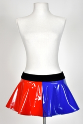 "Blue and Red Stretch Vinyl Skirt (10"" Long) TEMPORARILY OUT OF STOCK"