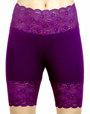 Dark and Light Purple High-Waisted Stretch Lace Shorts (OUT OF STOCK)