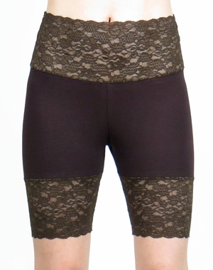 Dark Brown Wide Waistband Stretch Lace Shorts (OUT OF STOCK)