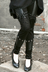 Faux Leather, Lace, and Grommet Leggings