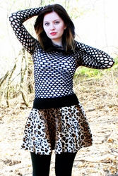 Flared Leopard Mini Skirt