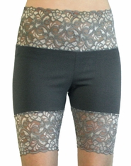 Grey Wide Waistband Stretch Lace Shorts (OUT OF STOCK)