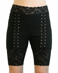 High-Waist Double Front Lace-Up Stretch Lace Shorts