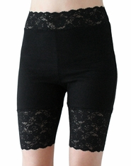 Black High-Waisted Stretch Lace Shorts