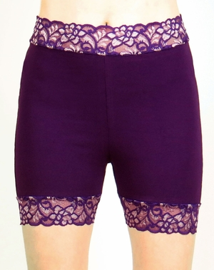 High-Waisted Purple Stretch Lace Shorts (TEMPORARILY OUT OF STOCK)
