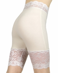 Cream and Ivory / Off-White Stretch Lace Shorts