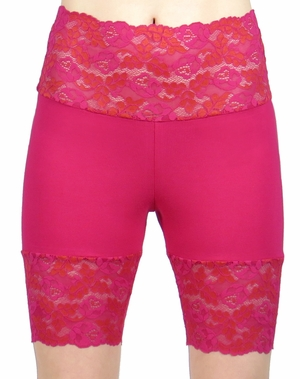 Hot Pink Wide Waistband Stretch Lace Shorts (OUT OF STOCK)