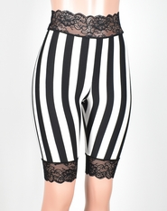 Knee Length High-Waisted Vertical Stripe Stretch Lace Shorts