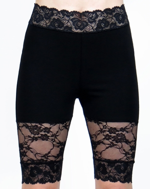 Knee Length Black Lace Panel Stretch Lace Shorts