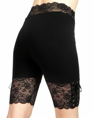Black Lace-Up Stretch Lace Shorts