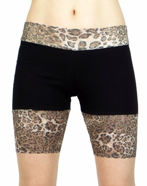 Leopard and Black Stretch Lace Shorts