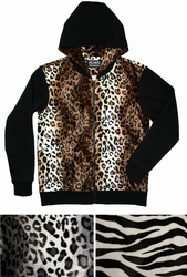 Men's Leopard and Black Hoodie