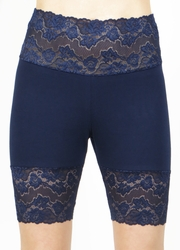 Navy Blue Wide Waistband Stretch Lace Shorts