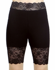New Black High-Waisted Stretch Lace Shorts