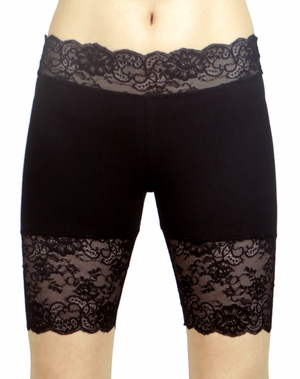 New Black Stretch Lace Shorts