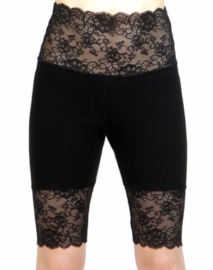 Knee Length Wide Waistband Black Stretch Lace Shorts