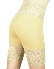 Nude / Beige / Khaki Wide Waistband Stretch Lace Shorts