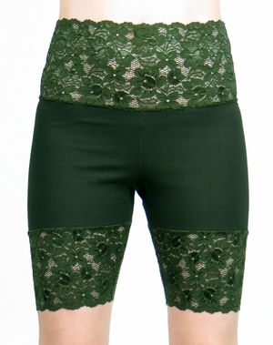 Dark Green Wide Waistband Stretch Lace Shorts