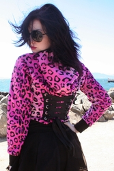 Pink Leopard Cropped Corset Hoodie