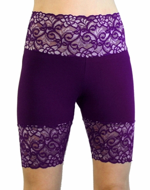 Purple Wide Waistband Stretch Lace Shorts (TEMPORARILY OUT OF STOCK)