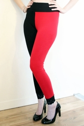 Red and Black Cotton Leggings