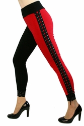 Red and Black Lace-Up Harley Quinn Leggings