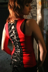 Red and Black Lace-Up Tank Top (OUT OF STOCK)