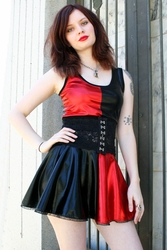Red and Black Metallic Harley Quinn Circle Skirt (OUT OF STOCK, NEW VERSION COMING SOON)