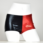 Red and Black Shiny Harley Quinn Booty Shorts