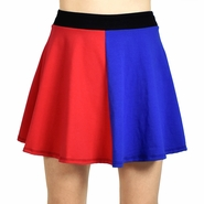 "Red and Blue Cotton Flared Skirt (16"" Long)"