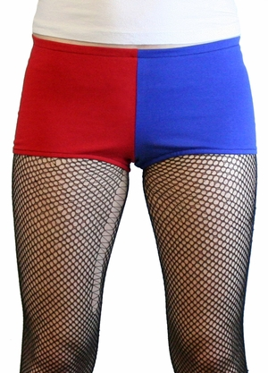 Red and Blue Cotton Harley Quinn Booty Shorts