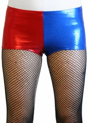 Red and Blue Shiny Harley Quinn Booty Shorts